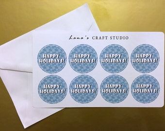 Happy Holidays Snowflake Envelope Seals | Choose your text for no extra charge!