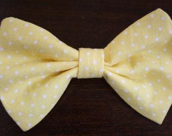 Medium Yellow/White Polka Dot Hair Bow