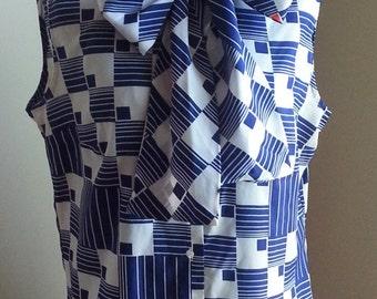 White Navy Orange Red Geometric Print Sleeveless Collar Tie Sheer Lightweight Dacron Polyester louse Top