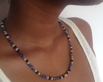 Sodalite Beaded Necklace with Cream Glass Beads, Medium Length, Simple Bohemian Style