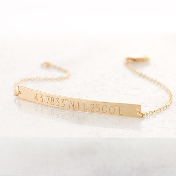 custom coordinates bracelet personalized or blank 14k gold
