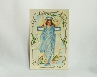 1914 Easter Postcard - Embossed Woman Cross - Easter Joys - Blue White Gold - Used Stamped - Antique Post Card - Vintage 1910s