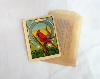 50s Kentucky Travel Decal - Horseshoe Cardinal - Suitcase Trunk Sticker - Vintage 1950s