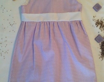 Purple Dress in Gingham. Spring dress for girls. Size 4