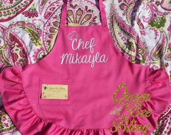 Pink or White Ruffled Kids Chef Apron Personalized with Glitter or Non Glitter Vinyl