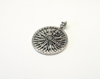 Sun compass compass 925 Sterling Silver Pendant