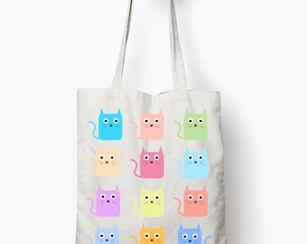 Cat tote bag, multicolor cat shopping bag, canvas tote bag, cat graphic