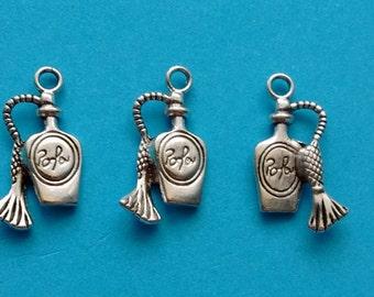 10 Perfume Bottle Charms Silver Atomizer Charm- CS3017
