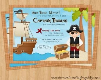 Boy's Pirate Buccaneer Birthday Invitation, Ahoy Matey Party Invite - Printable, Digital, Treasure Chest, Pirate Ship, Treasure Hunt