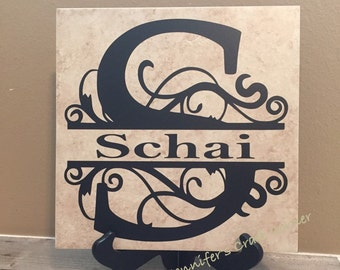 Personalized Name Tile, Christmas, Wedding Gift, Anniversary Gift, Family Sign, Co Worker Gifts, Wedding, Anniversary, Last Name Sign