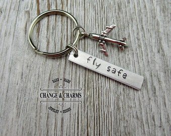 Fly Safe Keychain, Pilot Gift, Airplane Keychain, Airplane, Traveling Keychain, Fly Safe, Keychain, Gift for Flight Attendant, Travel