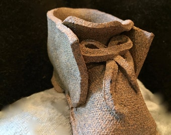 clay, hand-made, laced, mini, shoe, baby, bootie - Vintage, but looks like new!