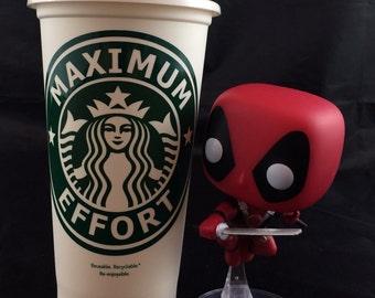 "Deadpool inspired ""Maximum Effort"" Starbucks Travel Cup"