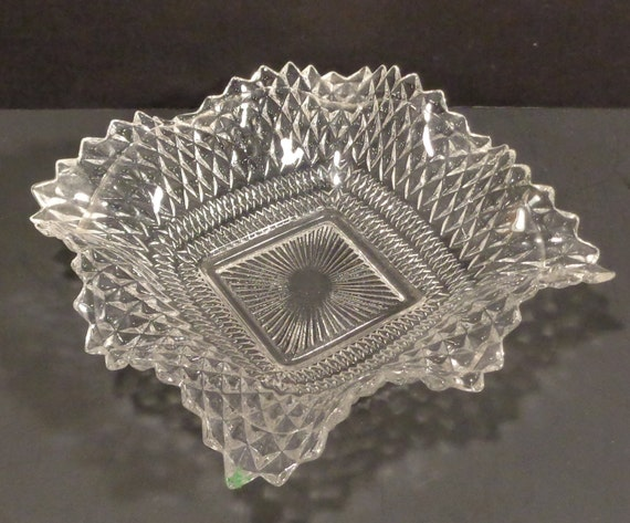 Vintage Federal Glass 1930s 1940s Square Fancy Diamond Point