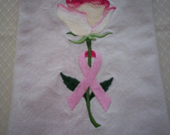 Awareness Rose Embroidered Tea Towel, Breast Cancer Awareness Towel, Embroidered Tea Towel, Embroidered Flour Sack Towel