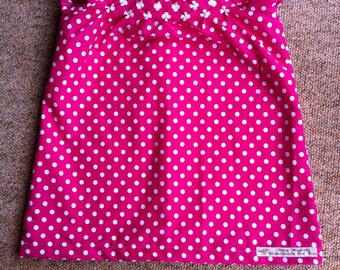 Cerise Smocked Peasant Dress/Tunic with Knickers