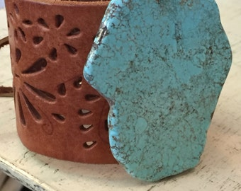 Upcycled Turquoise / Howlite Leather Cuff Bracelet