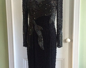 1980s / 80s Vintage Oleg Cassini Black Tie by He-Ro Sequin and Beaded Silk Black Evening Gown LBD Size M