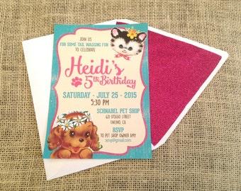 Vintaged Inspired Kitty Puppy Invitation
