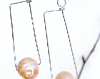 Modern minimalist rectangles real pearls earrings