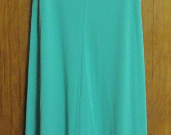 Fortrel Maxi Dress, Green, 100% Polyester, Size 14, 1970's, Vintage
