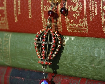 Hot air balloon necklace red rhinestone chain steampunk style 3D pendant charm