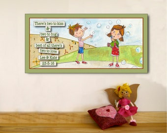 Print for Twin Girl and Boy - Personalised Twin Print for Boy and Girl - Personalized Twin Print - Personalised Twin Print - Twin Art