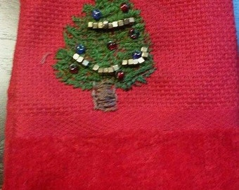 Hand embrodered Christmas hand towel