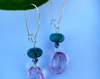 Beautiful Pink glass and turquoise dangle earrings