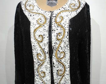 Vintage Black White and Gold Sequined and Beaded Jacket Shirt Fully Embellished