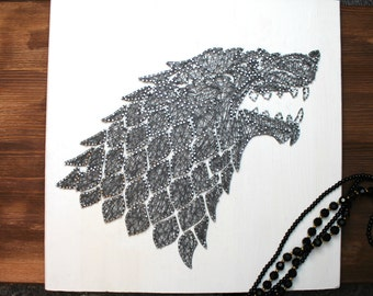 Game of Thrones House Stark Sigil Direwolf String Art Sign, Wall Art Decor
