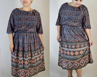 vintage 70s bohemian gypsy chiffon dress extra extra large