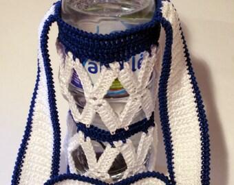 Crochet water bottle holder for a kid, white and blue cotton bottle holder, HANDMADE