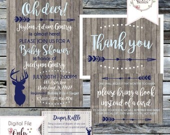 Rustic Baby Shower Suite//OH DEER Woodland Baby Shower//Invitation, Thank You Notes, Diaper Raffle, Book Request//Personalized Printable