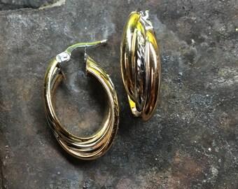 Tri-Tone 14k Gold Earrings