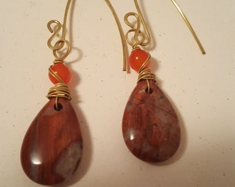 Picasso Jasper and Czech glass Earrings