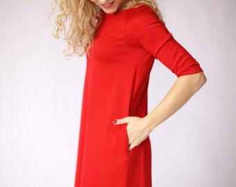 Red dress, casual dress, red long sleeve dress with pockets, a line dress red maternity dresses, pregnancy dresses, work dress, midi dress
