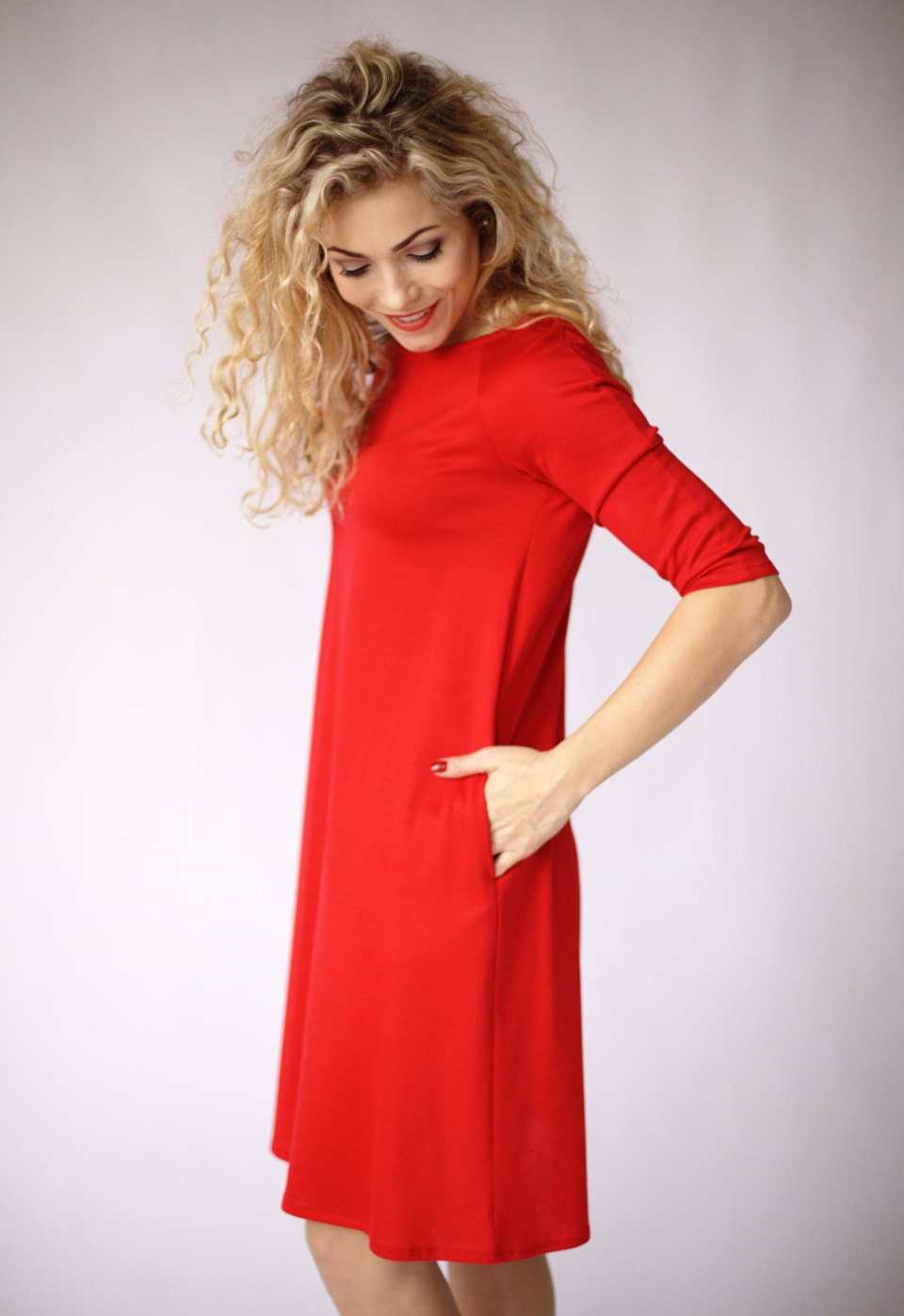 Red dress casual dress red long sleeve dress with pockets a zoom ombrellifo Choice Image