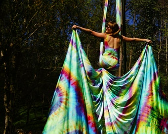 Listing for Custom Order, Hand Dyed Tie Dyed Aerial Fabrics, Aerial Yoga, Aerial Silks, One of a Kind, Circus Arts, Aerial Dance