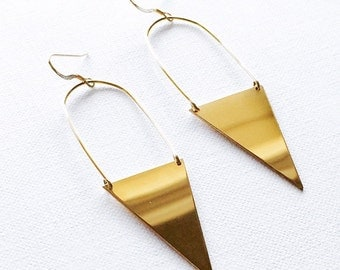 Gold Filled Long Shiny Triangle Earrings