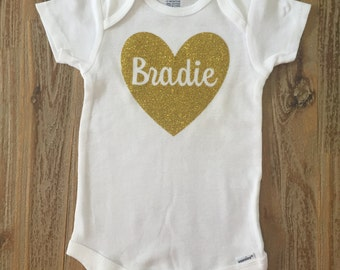 Heart Onesie, Custom Name Onesie, Custom Name Shirt, Gold Glitter Onesie, Silver Glitter Onesie, Heart Name Onesie,  Heart Name Tee