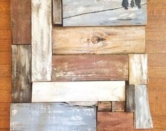 Love Birds Family - Repurposed Pallet Wood Wall Art