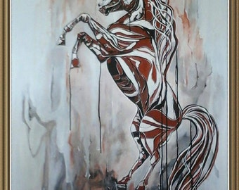 horse acrylic paint and ink horse: always standing... Paint original, original painted JF
