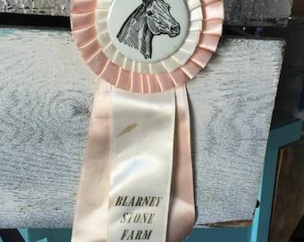 Vintage Horse Show Ribbon, Pink Award Ribbon, Equestrian Ribbon