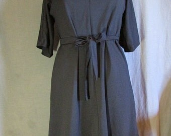 1960s Black Handmade Double Knit Dress Size 8 Medium M | Little Black Dress | Classic Dress | Easy Care