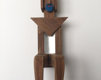 Outsider Art Wooden Sitting Man