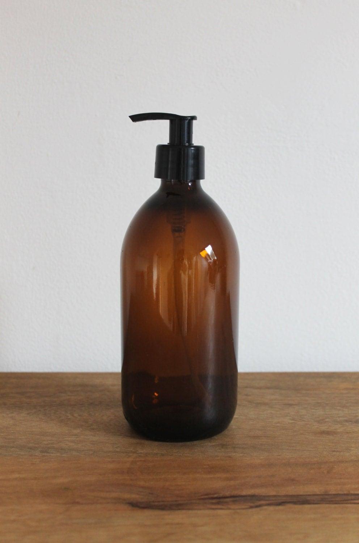 Amber Brown Glass Bottle Soap Dispenser Bottle 250ml 300ml