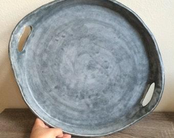 """matte Grey 13"""" Platter"""