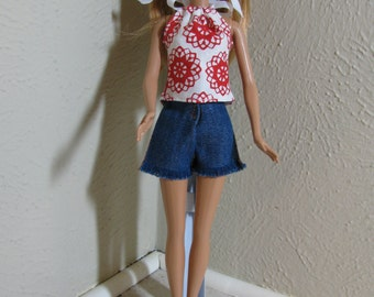 Barbie doll clothes - blue jean shorts