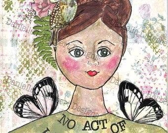 Mixed Media Collage Art Giclee Print - Act of Love